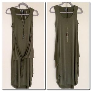 Bobeau Sleeveless Tie Mini Dress in Olive